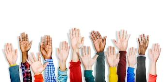 Groep Multi-etnische Diverse Handen Opgeheven