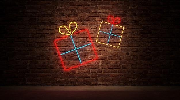 Groep neonlicht van gift box-symbool op bakstenen muur