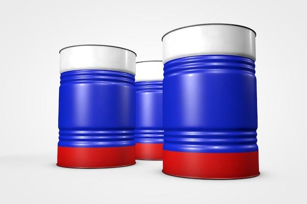 Groep olievaten uit landen van de wereld geïsoleerd op een witte achtergrond 3d illustratie