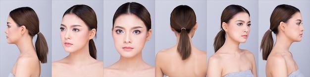 Groep pack collage van mooie schone huid aziatische vrouw steil zwart haar met handen armen vingers gezicht pose open schouder glimlach, studio verlichting witte achtergrond kopie ruimte, voor show 360 rond model