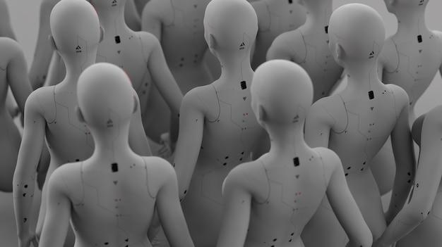 Groep robots in vrouwelijk beeld staande in rijen kunstmatige intelligentie en robotica concept