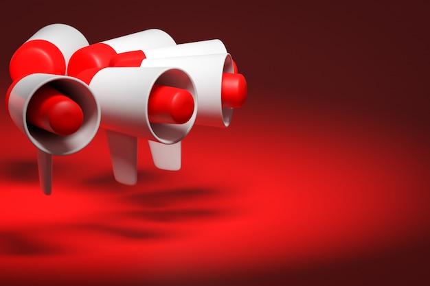 Groep rode en witte cartoon luidspreker op een rode monochrome achtergrond. 3d-afbeelding van een megafoon. reclame symbool, promotie concept.
