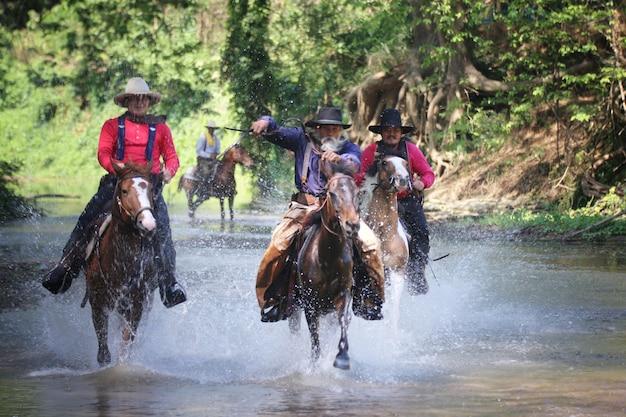 Groep ruiters en paarden die op het meer racen
