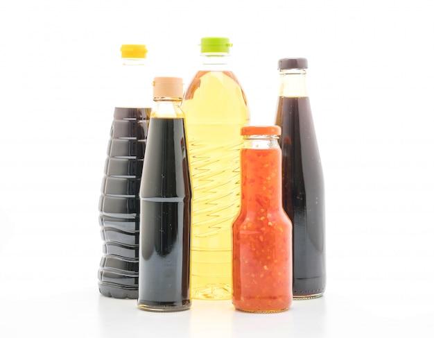 Groep saus fles kruiderij voor het koken
