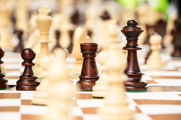 Groep schaakstukken op het draagbare bord spelen in het parkconcept buitenactiviteit