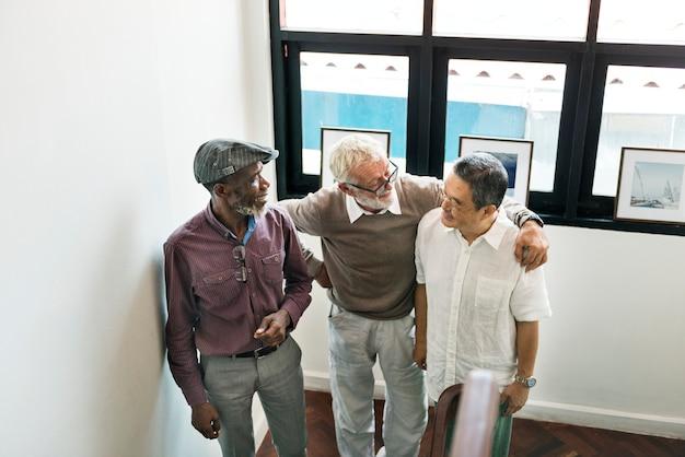 Groep senior pensioen discussie concept