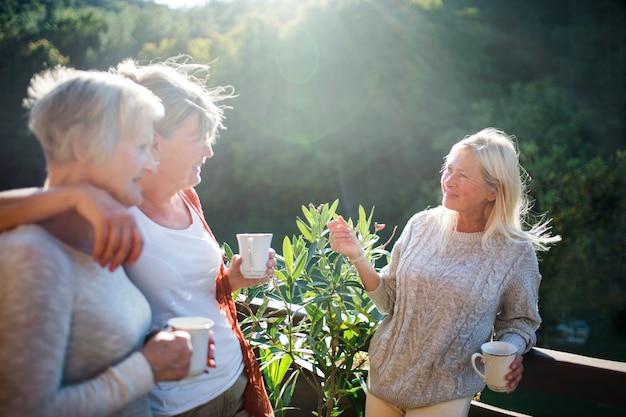 Groep senior vrouwen vrienden staan buiten op terras, praten.