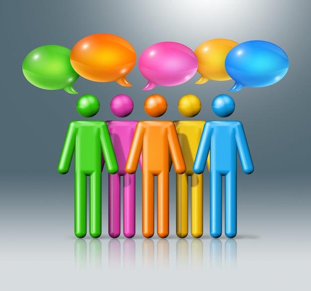 Groep stokcijfers mensen met tekstballonnen