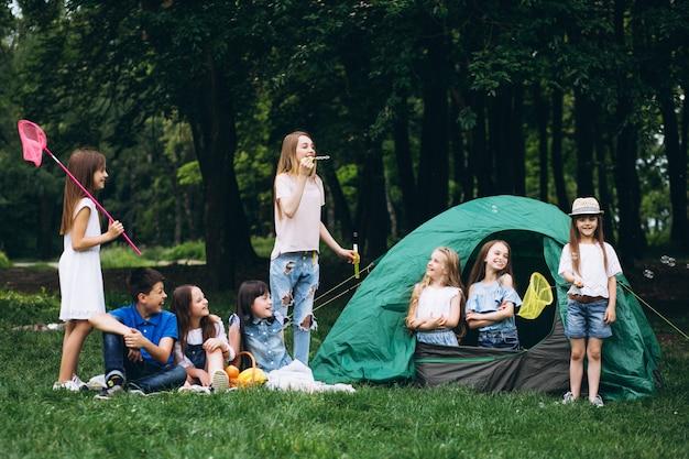 Groep tieners die in bos kamperen