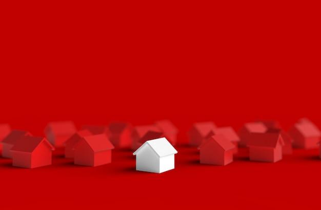 Groep vaag huis dat op rode achtergrond wordt geïsoleerd. 3d illustratie.