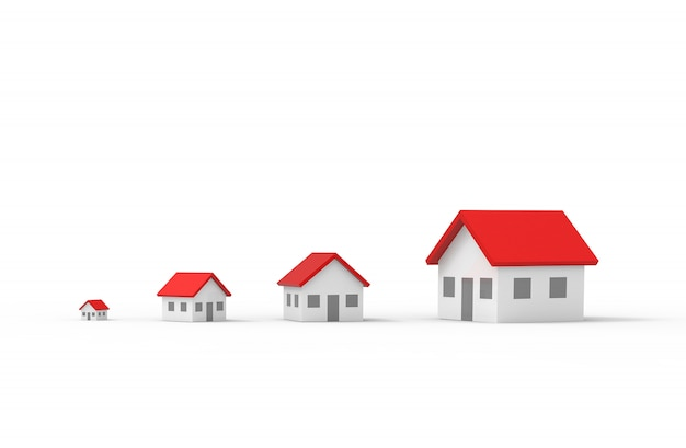 Groep vaag huis dat op witte achtergrond wordt geïsoleerd. 3d illustratie.