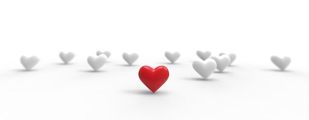 Groep valentijn harten op witte achtergrond. 3d-weergave.