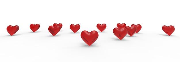 Groep valentine hearts op witte achtergrond. 3d-weergave