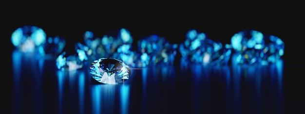 Groep van blauwe ronde diamanten gem geplaatst op reflectie