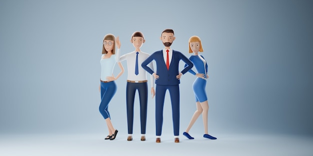 Groep van het elite zakelijke team. succes van bedrijfsconcept. 3d illustratie