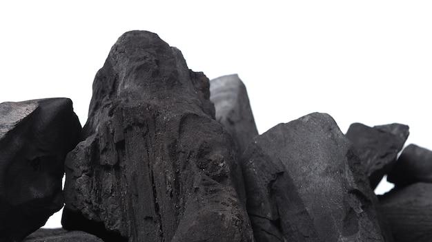 Groep van houtskool zwarte kleur gemaakt van echt hout in de studio