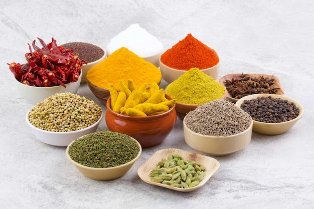 Groep van indische specerijen