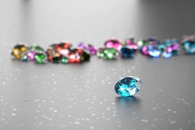 Groep van kleurrijke diamant hoofdobject focus geplaatst op glitter, 3d-rendering