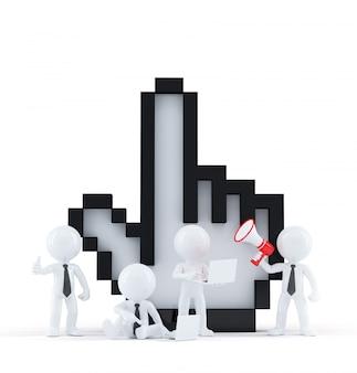 Groep van mensen uit het bedrijfsleven met cursor