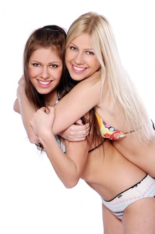 Groep van twee prachtige zussen