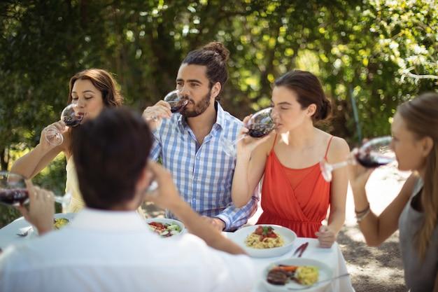 Groep vrienden die champagne drinken