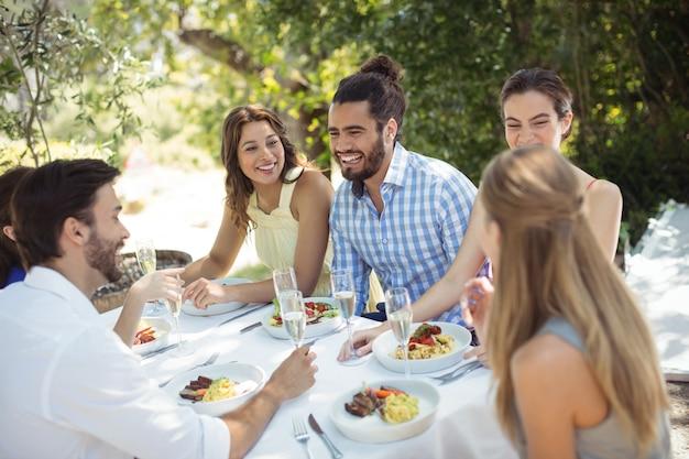 Groep vrienden die lunch hebben