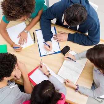 Groep vrienden die samen studeren