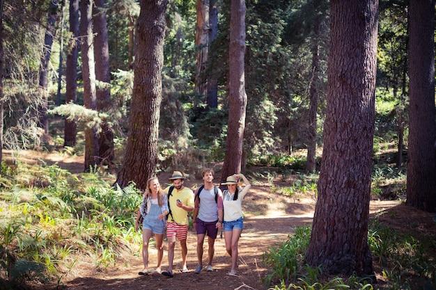Groep vrienden samen wandelen in het bos