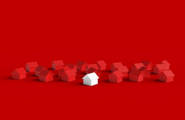 Groep wazig huis geïsoleerd op rode achtergrond. 3d-afbeelding.