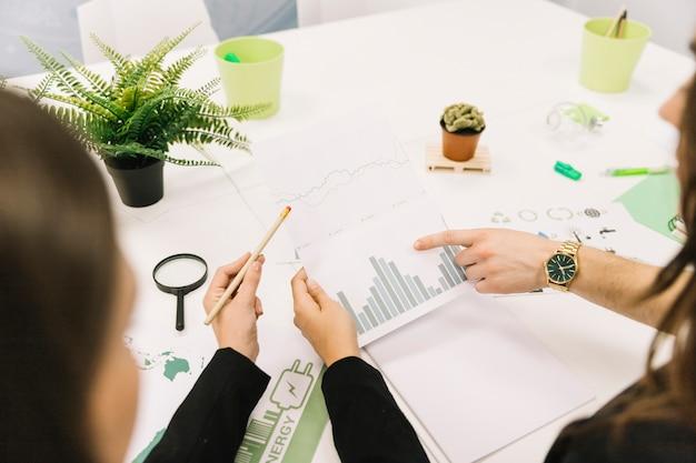 Groep zakenlui die grafiek in bureau analyseren