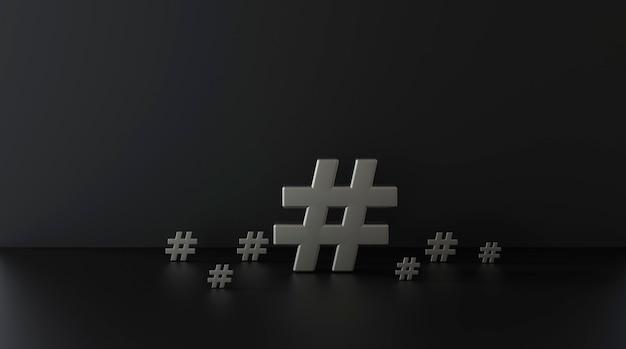 Groep zilveren hashtag pictogram op donkere achtergrond. 3d illustratie.