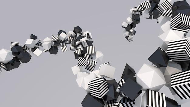 Groep zwart-witte vormen, close-up. abstracte illustratie, 3d-rendering.
