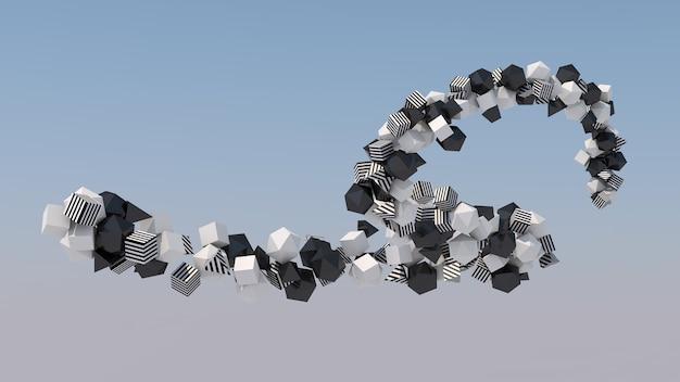 Groep zwart-witte vormen in de lucht. abstracte illustratie, 3d-rendering.