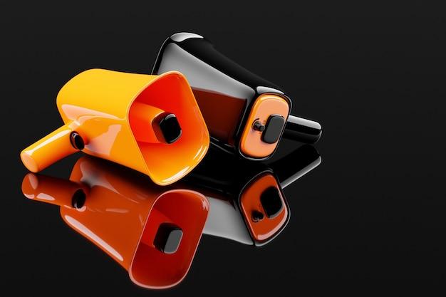 Groep zwarte en oranje glazen luidsprekers op een zwarte monochrome achtergrond. 3d-afbeelding van een megafoon.