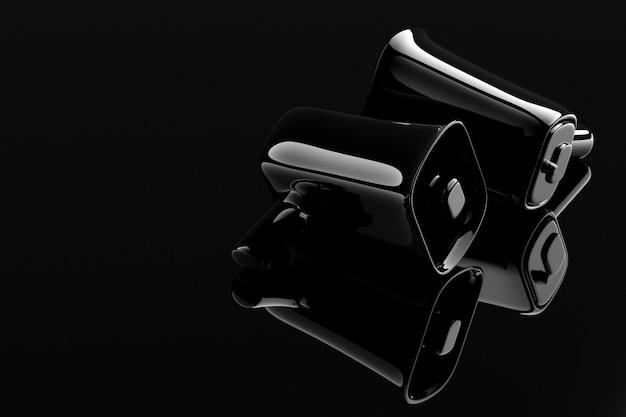 Groep zwarte glazen luidsprekers op een zwarte monochrome achtergrond. 3d-afbeelding van een megafoon.