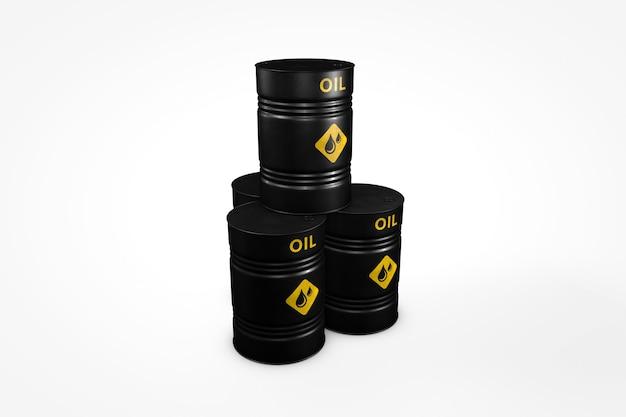 Groep zwarte olievaten die op witte 3d illustration als achtergrond worden geïsoleerd