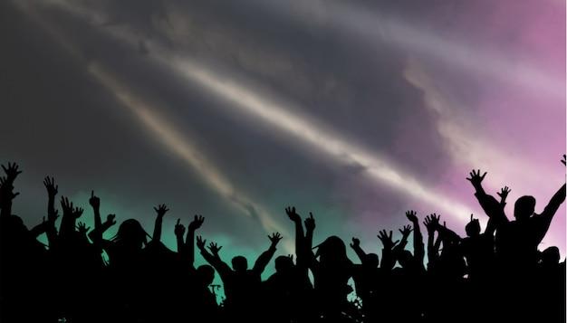 Groepsmensen genieten van concert spannend dansen