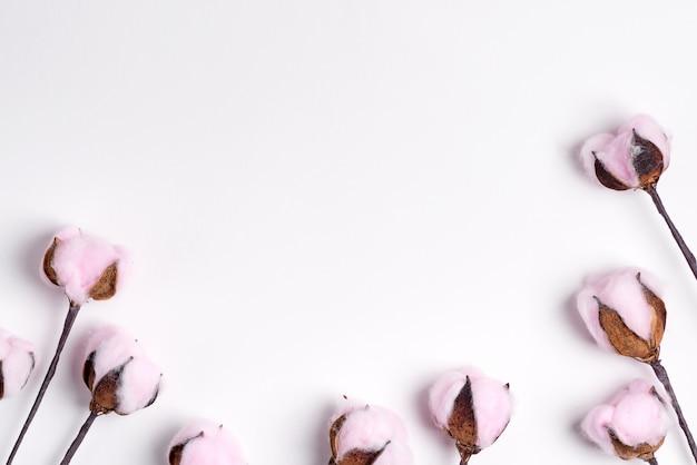 Groet grenskader van zachte roze katoenen bloemen op een witte achtergrond.