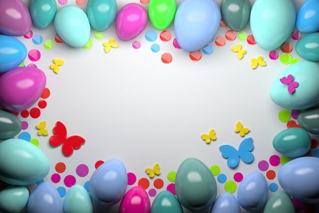 Groetkaart met glanzende willekeurig gekleurde paaseieren met kleurrijke confettien en vlindersachtergrond