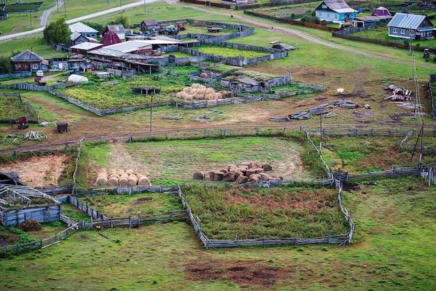 Grondgebied en boerderijgebouwen van een veehouderij rusland altai bergdorp bichiktuboom
