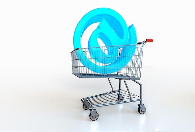 Groot blauw @-symbool in winkelwagen op wit. online winkelconcept. 3d render
