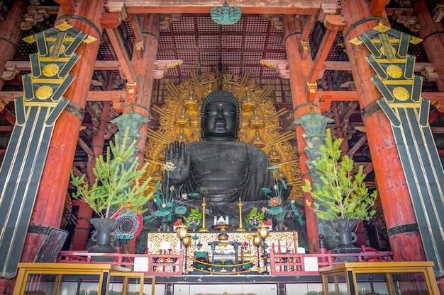 Groot bronzen boeddhabeeld in todaiji temple, nara prefecture, japan