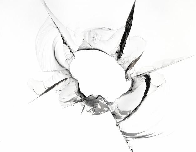 Groot gat in glastextuur op wit