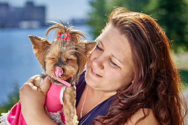 Groot gebouwde vrouw knuffelt yorkshire terrier hond likt zijn lippen