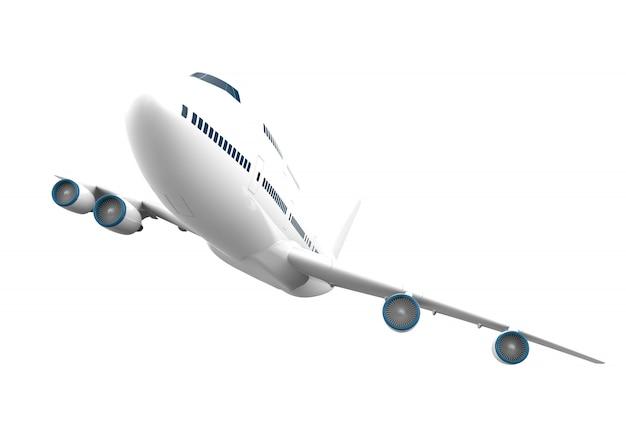 Groot geïsoleerd vliegtuig geïsoleerd op wit