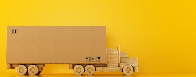 Groot kartonnen doospakket op een houten speelgoedvrachtwagen klaar om te worden afgeleverd op gele achtergrond