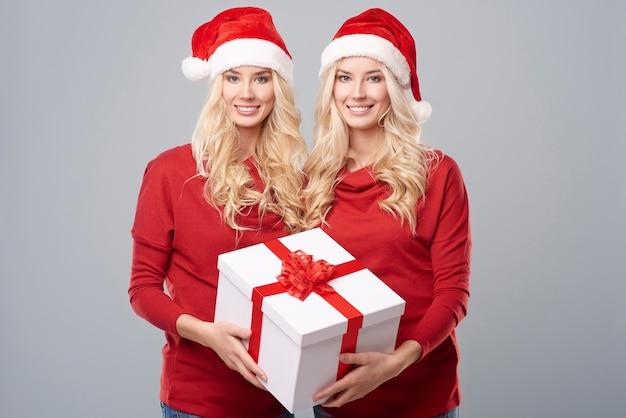 Groot kerstcadeau gehouden door een tweeling