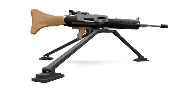 Groot machinegeweer op een statief met een volledige cassette-munitie op een witte achtergrond. 3d-ilustration.
