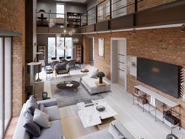 Groot modern appartement in loftstijl met banken, fauteuil, open haard, bakstenen muur, eettafel. 3d-weergave