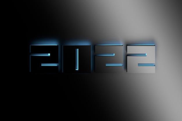 Groot nieuwjaarsnummer 2022 verlicht door blauw licht. 3d illustratie.